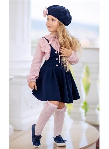 Riccotarz Kız Çocuk Beret Şapkalı 4'lü Salopet Takım Renkli